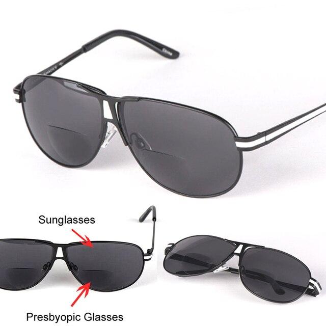 e68c18271d Pilot Sun Readers Bifocal Reading Glasses Sunglasses Men Women Unisex Diopter  Reading glass Oculos Gafas De Lectura +1.0~+3.5