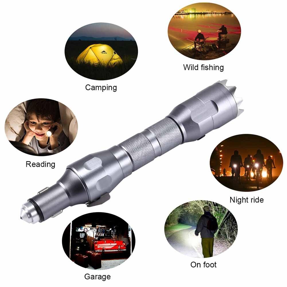 Date lampe de poche LED multi-fonction marteau ceinture de sécurité Cutter 2200 mAh batterie externe voiture Kit de survie d'urgence @ 8