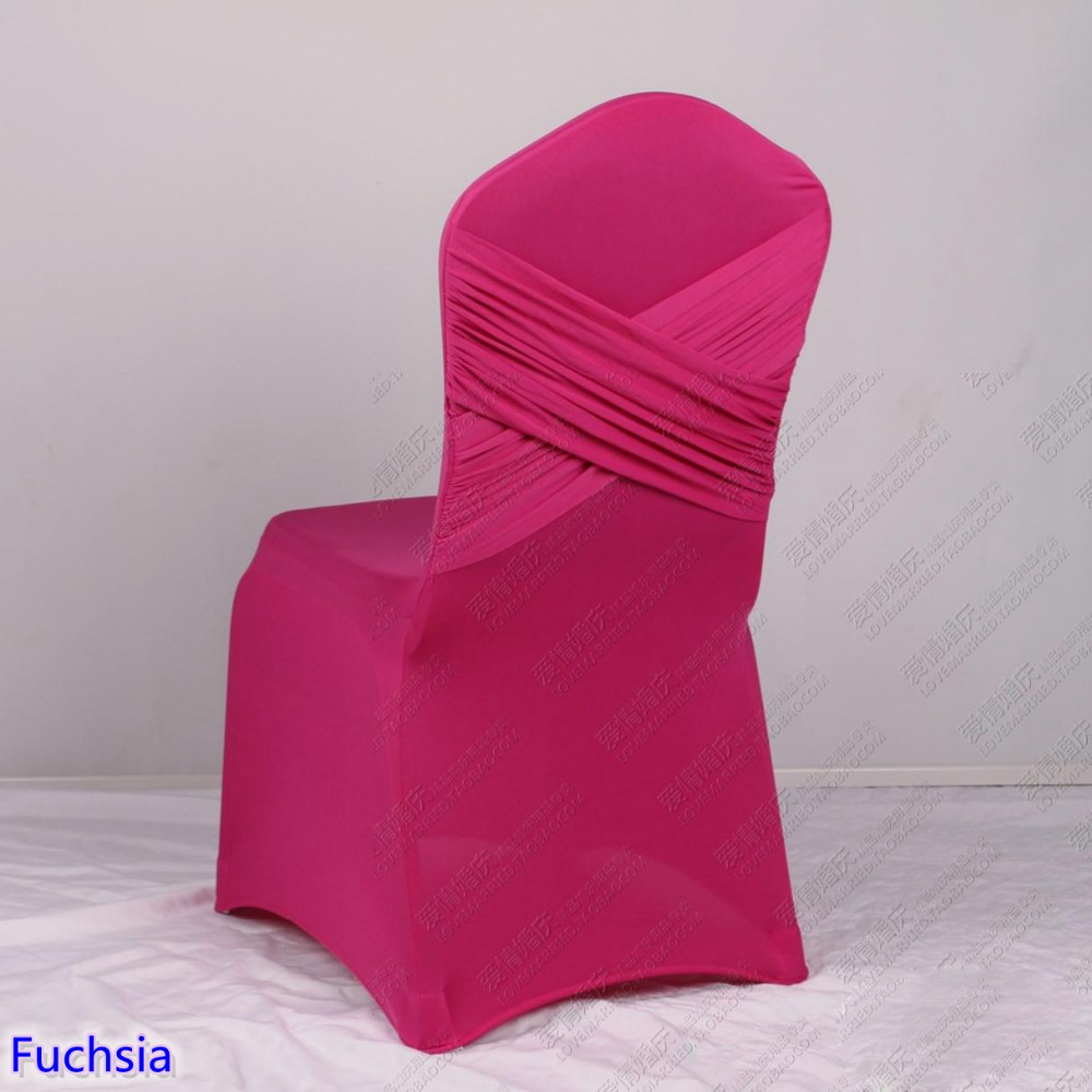 Fuchsia Colour Universal Lycra Chair Covers Two Cross Spandex Swag Back  Cover Chair Luxury Wedding Party Decoration On Sale In Chair Cover From  Home ...