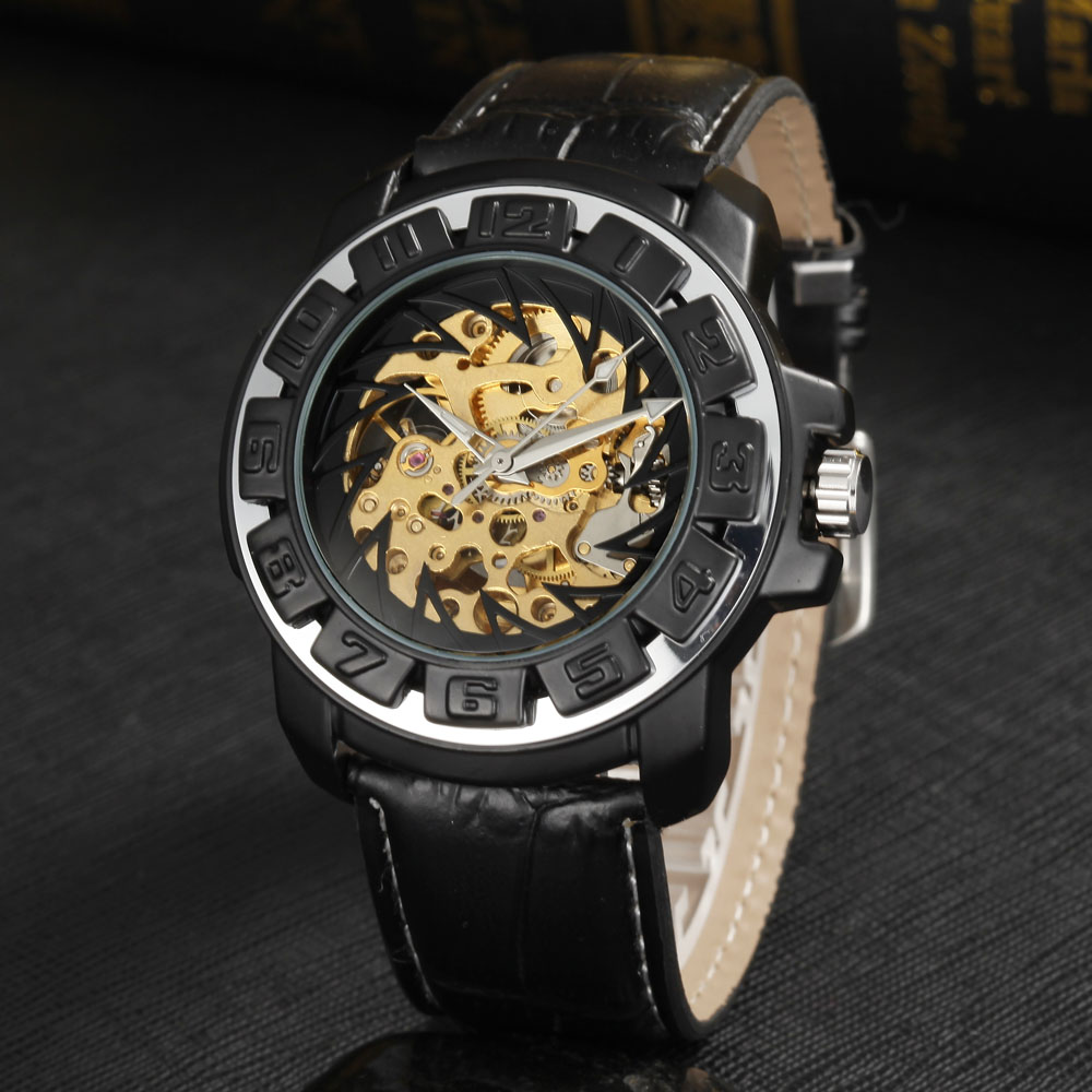8b51aa6f701 Aliexpress.com   Buy GOER Fashion Gear Design Automatic Mechanical Watches  Leather Band Skeleton Watch Casual Sports Men Watches relogio masculino  from ...