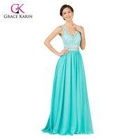 Grace Karin Sexy Backless Maxi Green V Neck Open Back Prom Dress Lace 2015 Chiffon Evening