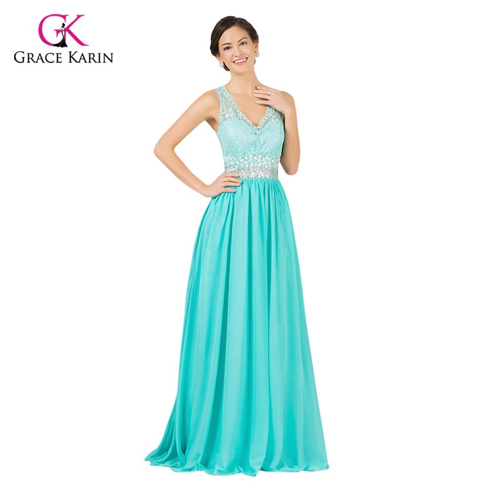 Vestidos de noche color azul turquesa - Grace Karin Sexy Backless Vestido De Noche Largo 2017 Elegante Turquesa Vestidos Piso Longitud Partida