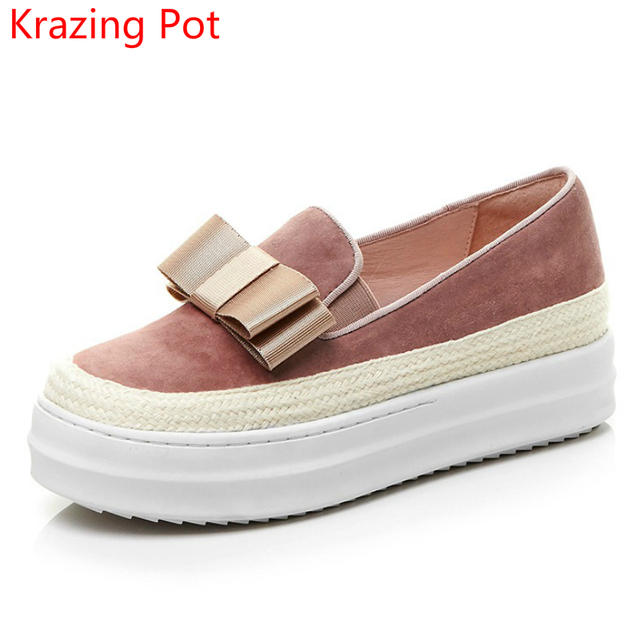 2018 New Arrival Cow Suede Bowtie Slip on Superstar Round Toe Platform Causal Gladiator Female Loafer Women Vulcanized Shoes L88