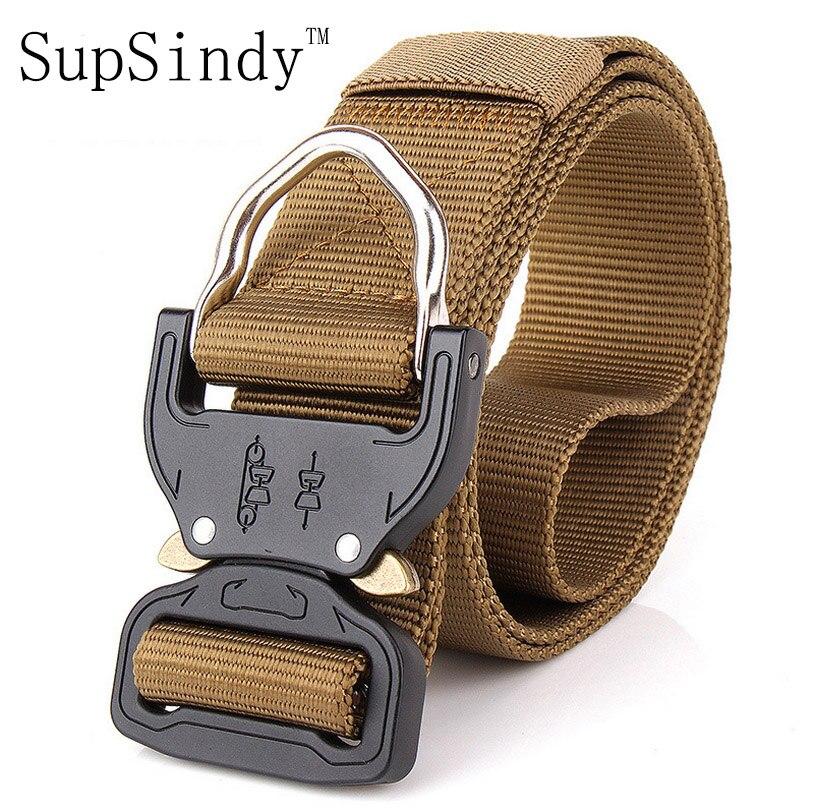 058b33be218d Cinturón de lona para hombre SupSindy hebilla de Metal de inserción  cinturón de entrenamiento de nailon militar cinturones tácticos del  ejército ...