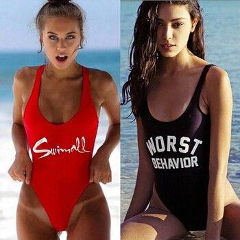 M & M Worden Sexy Brief Een Stuk Badpak 2018 Padded Badpakken Vrouwen Zomer Strand Zwemkleding Monokini Tong mailot De Bain Femme