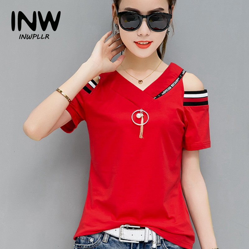 b6785434dd40af 2018 New Fashion Letters Tops Tees Women T-shirts Summer Short Sleeve  Cotton Tshirt Casual