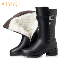 AIYUQI Women Snow Boots 2019 Genuine Leather Female Winter Boots Australia Thick Wool Big Size 35-43 Female Martin Boots Shoes цена и фото