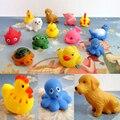 Baby shower 12 pçs/set mistos bath brinquedo de borracha animal float natação lavagem squeeze soando enxugando educação boneca diy atacado