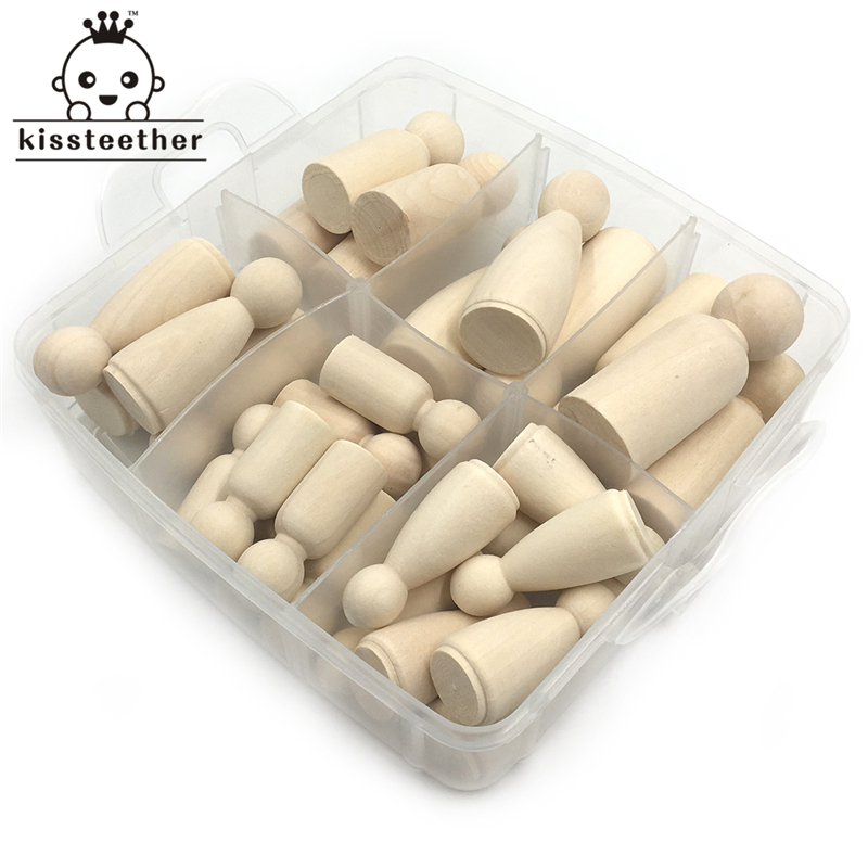 30pcs Solid Hard Wood People Different Size Natural Unfinished Ramp Preparation Paint Or Stained Wooden Family Wood Peg Dolls