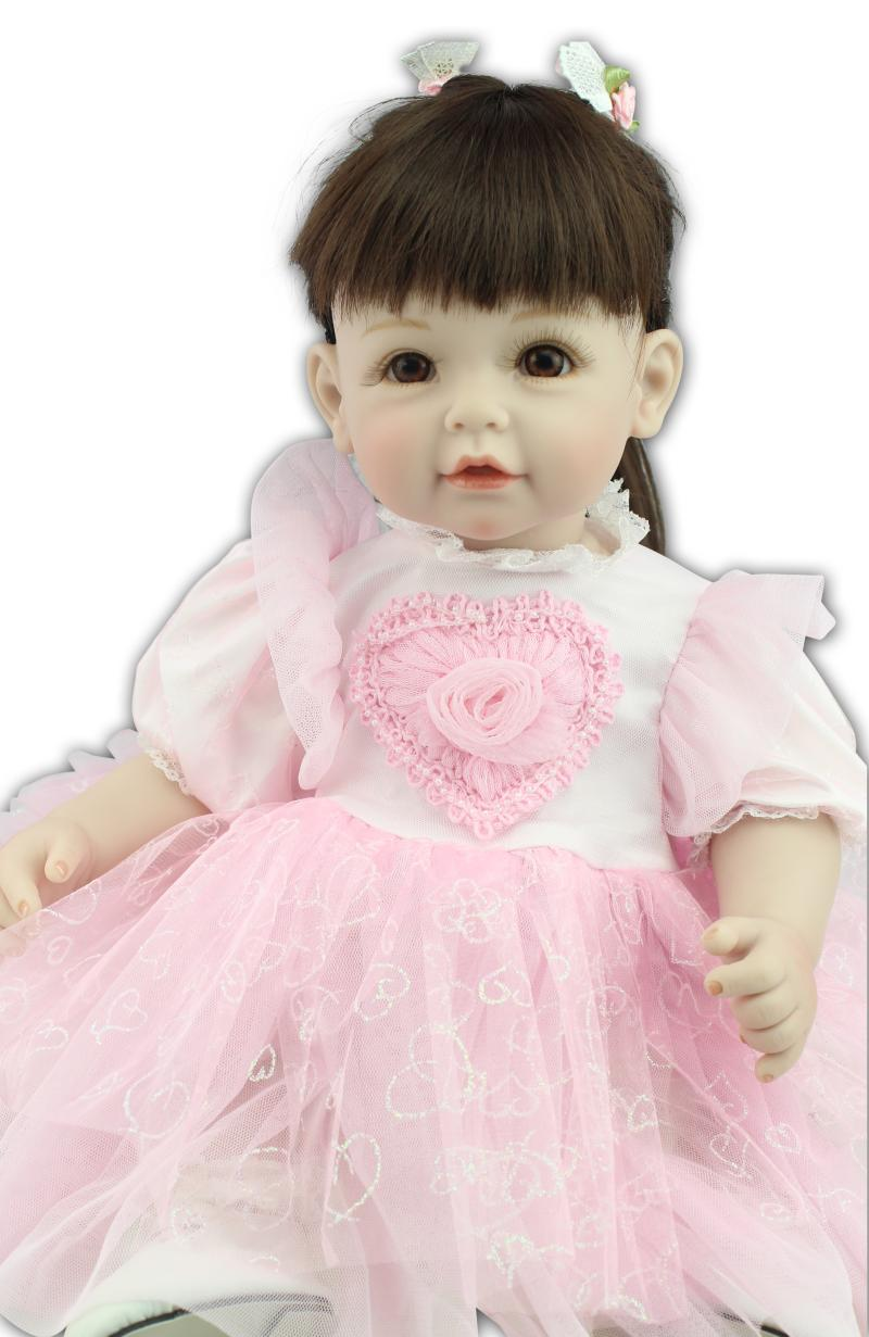 52cm Silicone reborn toddler baby doll toys, lifelike princess dolls play house toy birthday christmas gift girls brinquedods short curl hair lifelike reborn toddler dolls with 20inch baby doll clothes hot welcome lifelike baby dolls for children as gift