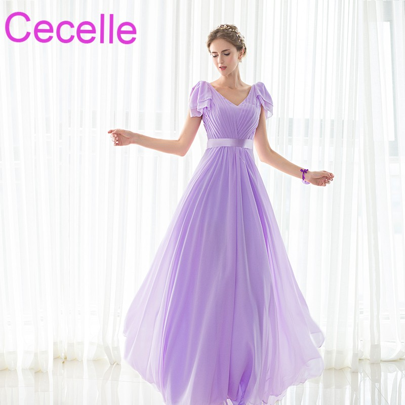 Lilac Chiffon Beach Long   Bridesmaid     Dresses   V Neck Sleeveless A-line Pleats Women Formal Summer Wedding Party Gowns Simple