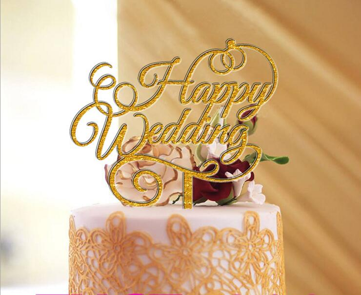 Free Shipping Happy Wedding Cake Topper Acrylic Cake Stand Decorating Wedding Favor Gift Cake Topper Party Supplies
