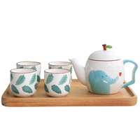 Cartoon cute elephants porcelain Tea set 1 Pot 4 Mugs,Super Beauty Coffee Mug Cup Teapot ,coffee pot tea set Drinkware