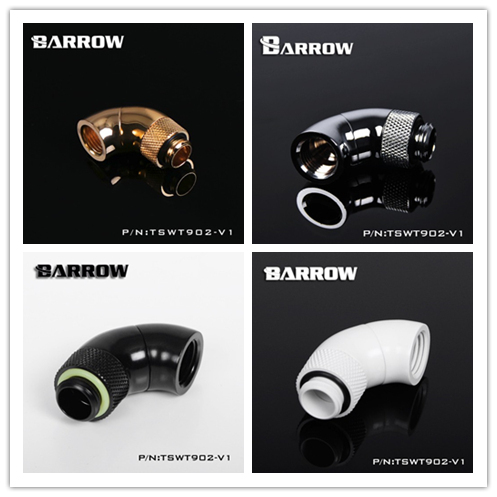"""TSWT902-V1 Barrow G1/4"""" White Black Silver Gold Dual Rotary 360 /90 degree rotate Extension adapter water cooling fittings"""