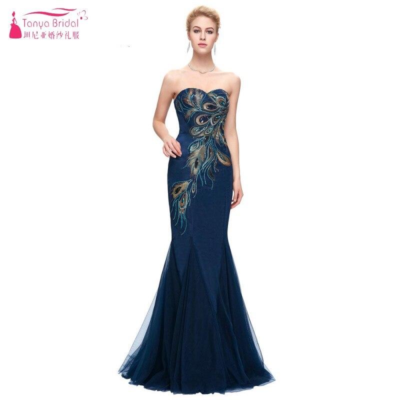 TANYA Navy Blue Long Evening Dress Embroidery Elegant Formal Lady Gown Mermaid Prom Dresses  JQ282