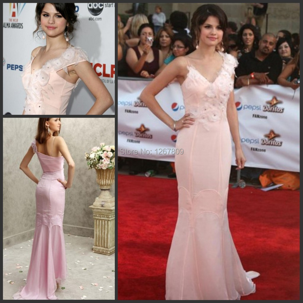 New Arrival Sexy Amazing Celebrity Dresses Inspired by Selena Gomeza Mermaid One Shoulder Handmade Flowers Evening Gowns