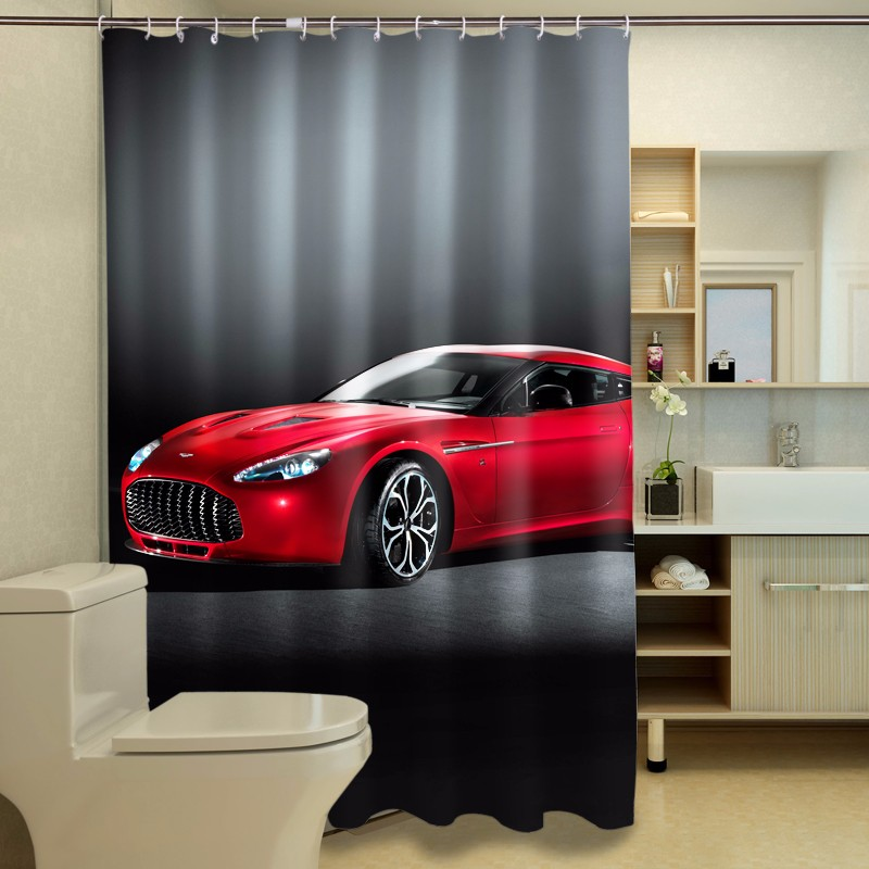 ᗜ lj Red Sports Car 3d Photo Digital Printing Bath Waterproof