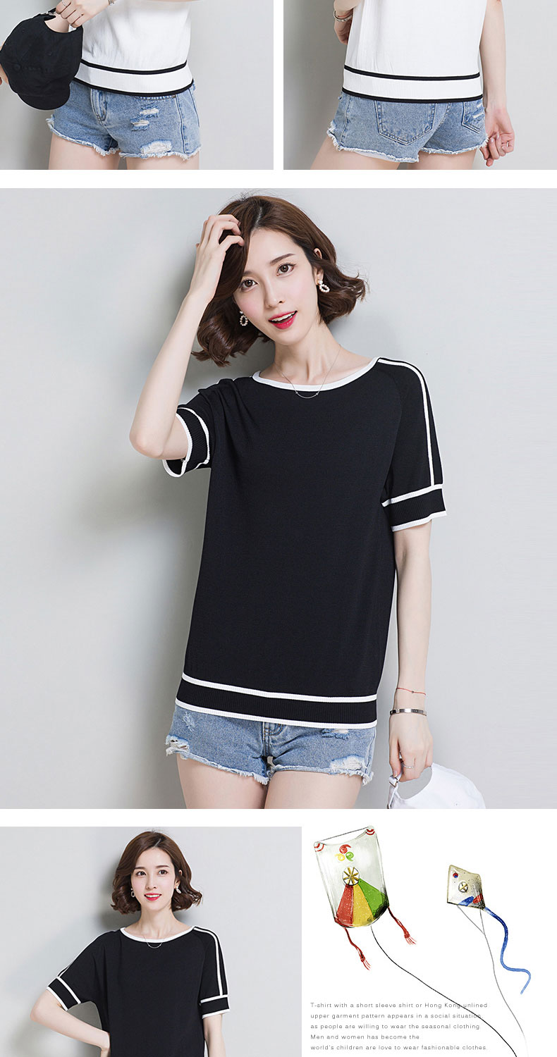 HSPL Summer Women Pullover White Tops Short Sleeve Casual New Arrival 19 Korea Lady Pull Femme Hiver Black Knitwear 11
