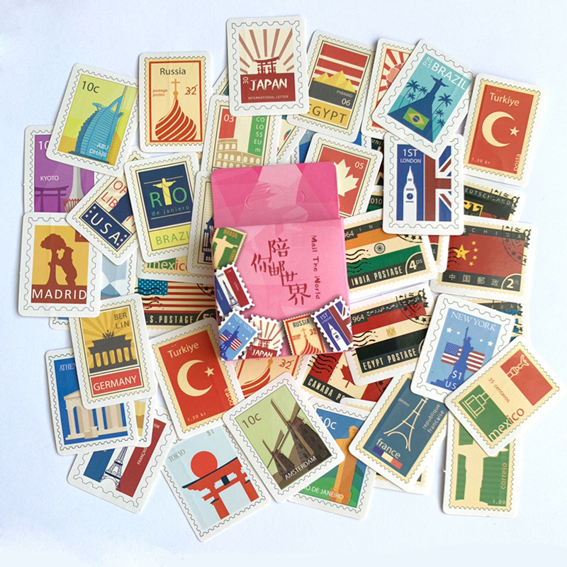 45 pcs /Pack Stamp of World Country Adhensive Stickers Notebook Album DIY Decoration Stickers Stick Label45 pcs /Pack Stamp of World Country Adhensive Stickers Notebook Album DIY Decoration Stickers Stick Label