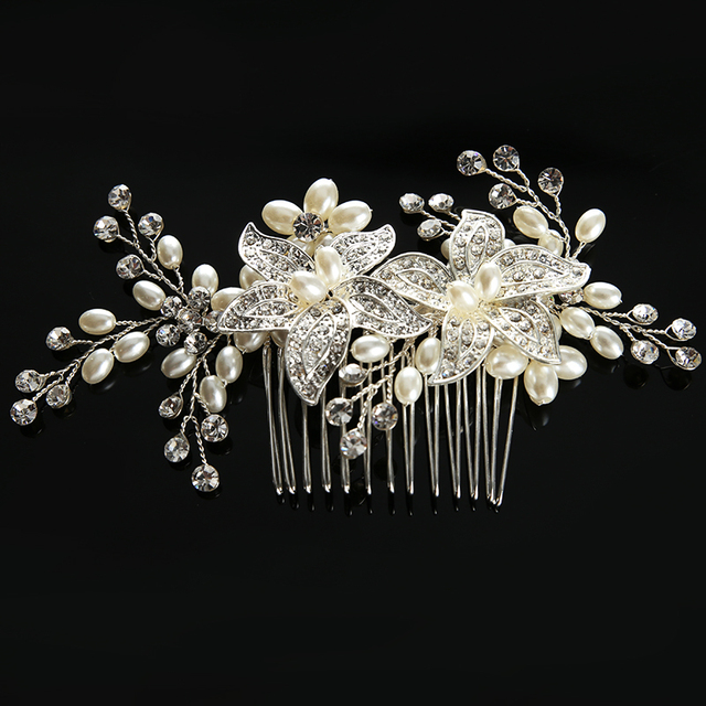 317cfda378154 TUANMING Luxury Pearl Crystal Flower Hair Comb Clip Silver Hair Fork Bride  Headdress Women Hair Accessories Wedding Hair Jewelry