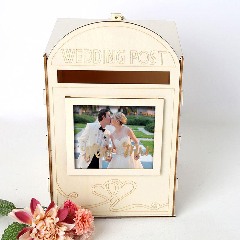 Diy Wooden Wedding Post Box With Lock Gift Card Message Storage