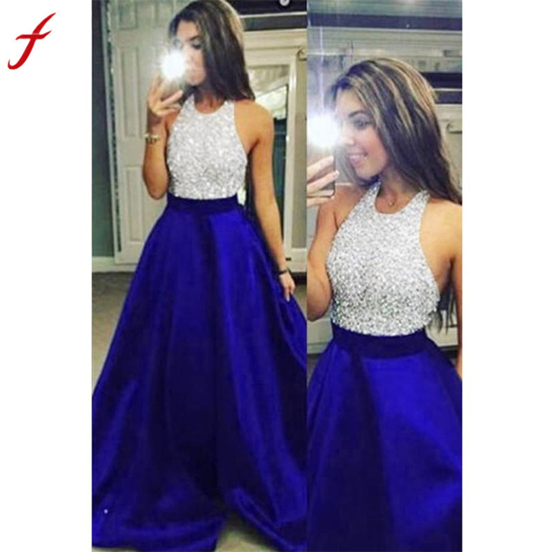 f779cc6078 US $15.19 40% OFF|Feitong 2018 Hot Sale Casual Dress Ladies Fashion Formal  Prom Party Ball Gown Bridesmaid Halter Long Dress Shop Owner Recommend-in  ...