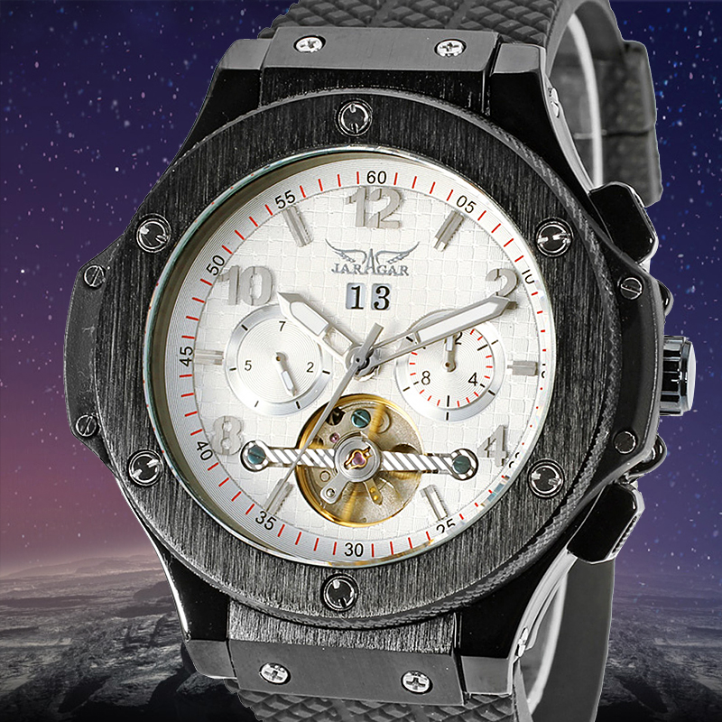 Jargar Men's Watch Tourbillon Automatic Military Analog Rubber Band Complete Calendar Display Wristwatch White Color outdoor rubber analog number watch