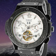 Jargar Men's Watch Tourbillon Automatic Military Analog Rubber Band Complete Calendar Display Wristwatch White Color