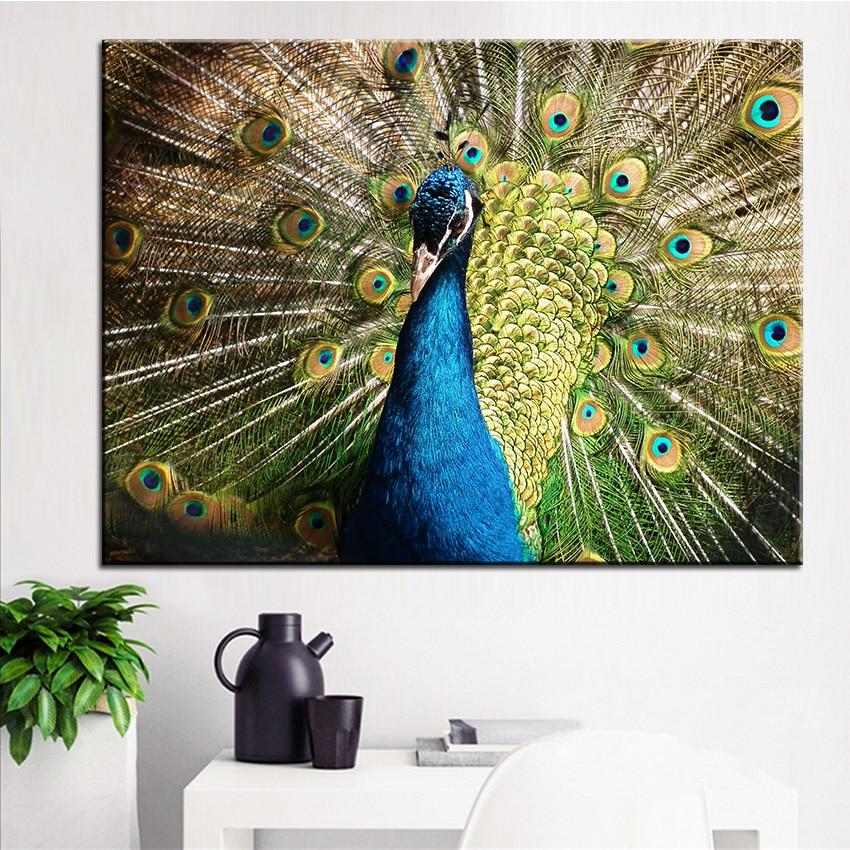 ⑦Grande taille Impression Peinture À L huile de paon oiseau ... 8c8e1dad617b