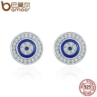 BAMOER Hot Sale Authentic 925 Sterling Silver Blue Eye Round Stud Earrings For Women Fashion Sterling