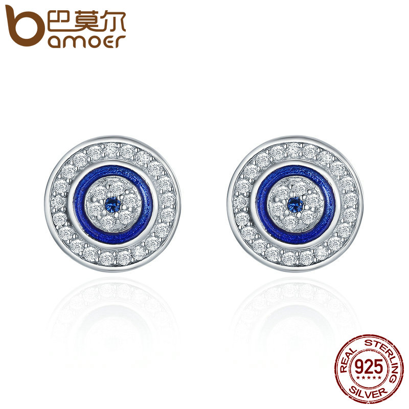 BAMOER Hot Sale Authentic 925 Sterling Silver Blue Eye Round Stud Earrings for Women Fashion Sterling Silver Jewelry SCE148 new authentic 925 sterling silver evil eye luxury women fashion cz blue stone silver necklace