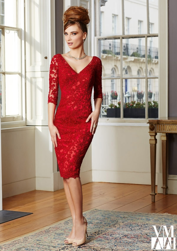 Robe De Soire Custom Elegant V-neck Appliques Half Sleeve Evening Gown 2018 Short Cheap Red Lace Mother Of The Bride Dresses