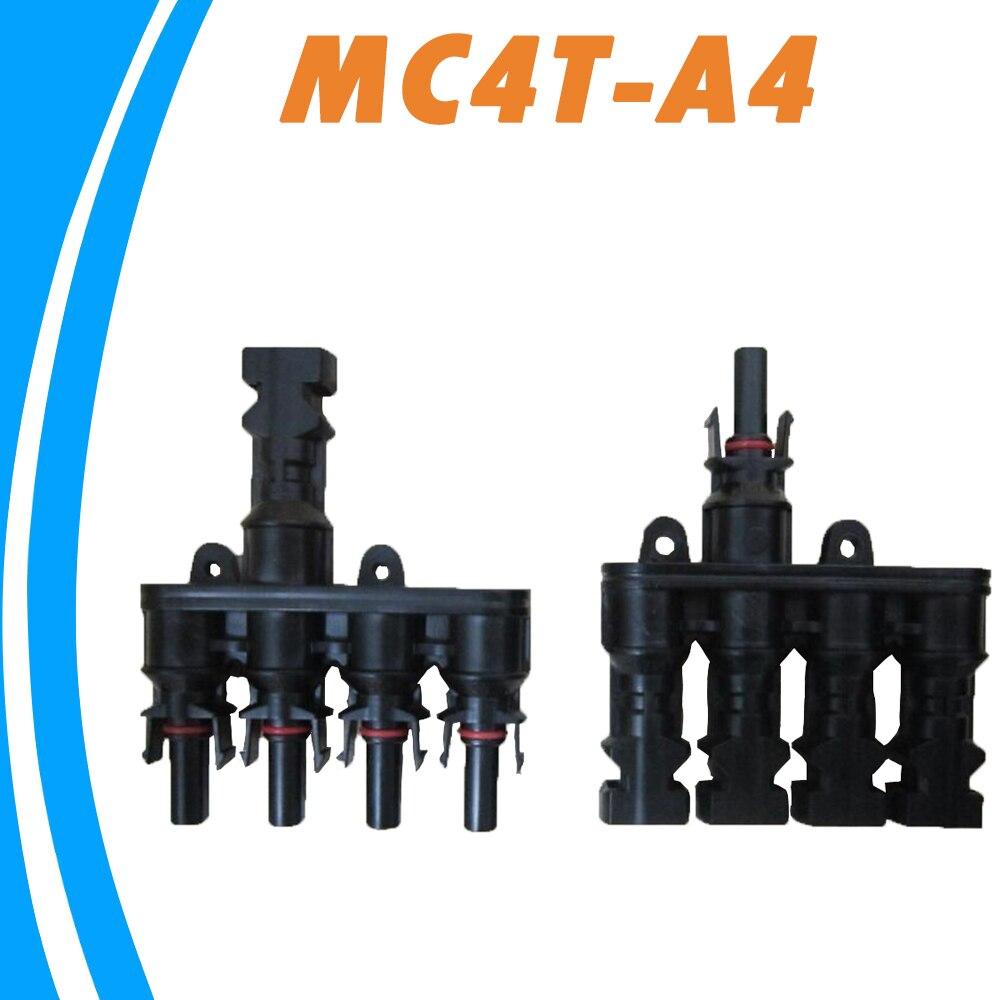 1 pair M/FM Solar Panel MC4 4 to 1 T Branch 30A Solar Panel Connector Cable Coupler Combiner MC4 Panel Cable Connectors