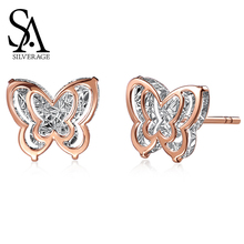 SA SILVERAGE AAA Zirconia Earrings Animal Gold Stud Earring 18K Yellow Butterfly Double 3D for Women