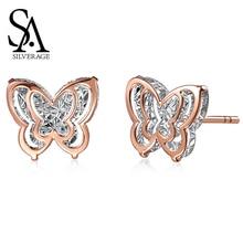 купить SA SILVERAGE AAA Zirconia Earrings Animal Gold Stud Earrings Earring 18K Yellow Gold Butterfly Double 3D Stud Earrings for Women дешево