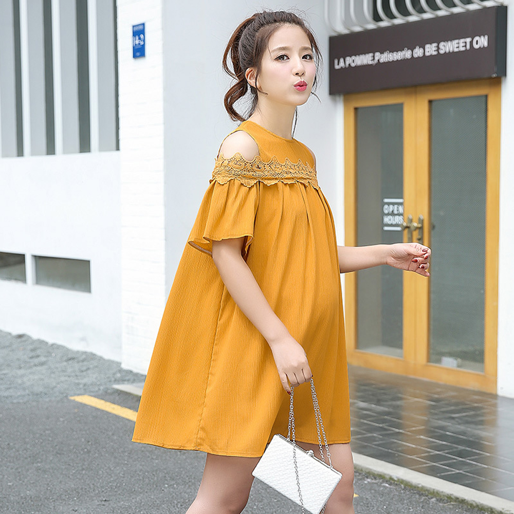 a7bfd9114561 Happy Cherry Maternity Dress for Pregnancy Fashion Off Shoulder Lace Loose  Pregnant Women Short Sleeve Clothes White&Yellow -in Dresses from Mother &  Kids ...