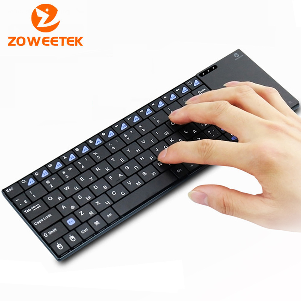 Genuine Zoweetek i12plus Russian Spanish French 2.4G RF wireless keyboard with touchpad mouse for PC Tablet Android TV Box IPTV genuine zoweetek i12plus 2 4g mini keyboard wireless russian with touchpad teclado for pc htpc iptv google android smart tv box