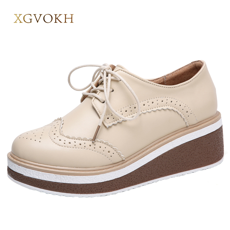 XGVOKH Women Flat Platform Oxfords Brogue Ladies Shoes Woman Lace Up Flats Female Footwear Shoes for woman Creepers women brogue shoes lace up oxfords for women black white platform shoes woman beading thick bottom pu leather flats plus size 43