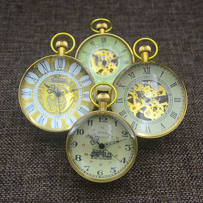 Fashion Glass Ball Pocket Watch Old Vintage Retro Crystal Mechanical Fob Watches New Bronze Standing Father Gift Grandpa Funny retro skull death hold sickle pocket watch fashion mens womens fob chain bronze devil quartz fashion halloween funny watch gifts