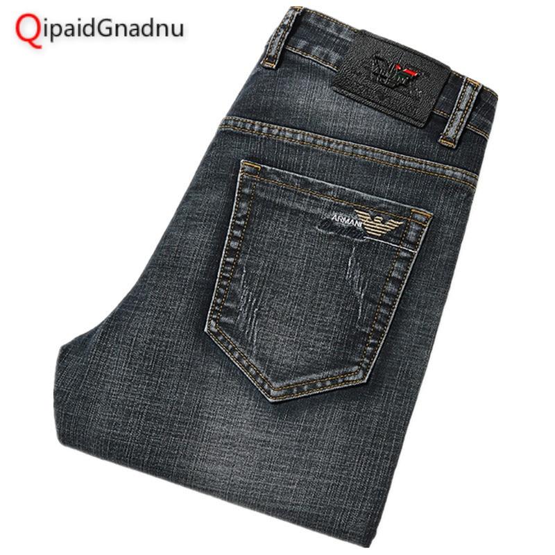 Mens   Jeans   Classic Retro Grey Straight Denim   Jeans   Men Plus Size 29-40 Men Long Pants Trousers Brand Biker   Jean   2019 Spring New