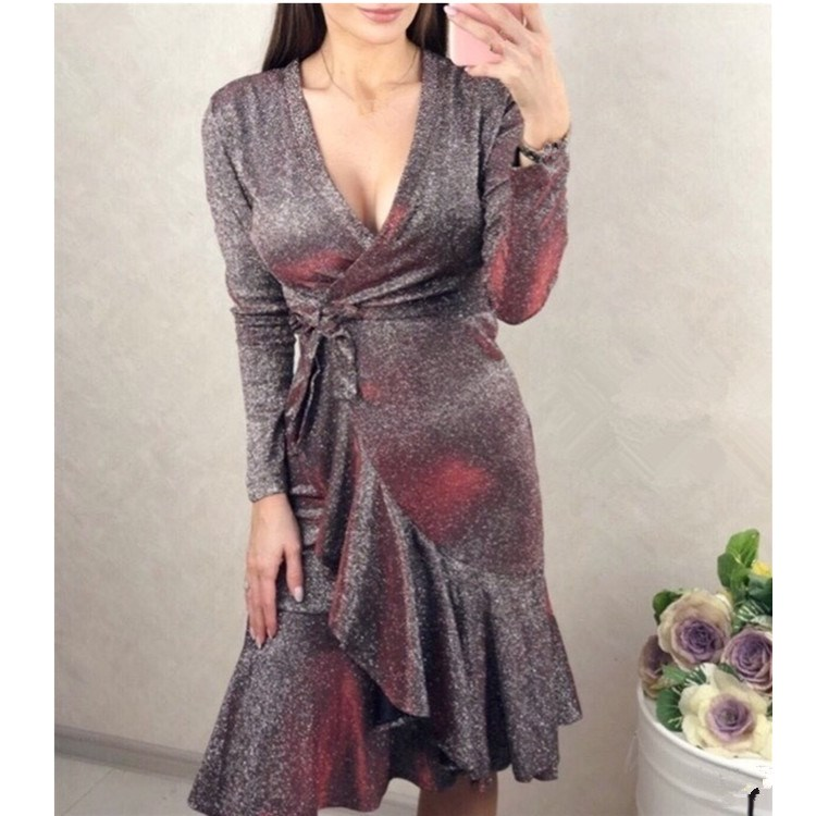 Elegant Bright Silk Ruffle Wrap Dress Women Split Long Sleeve Spring Casual Dress Cute Streetwear Mid Dress Vestidos