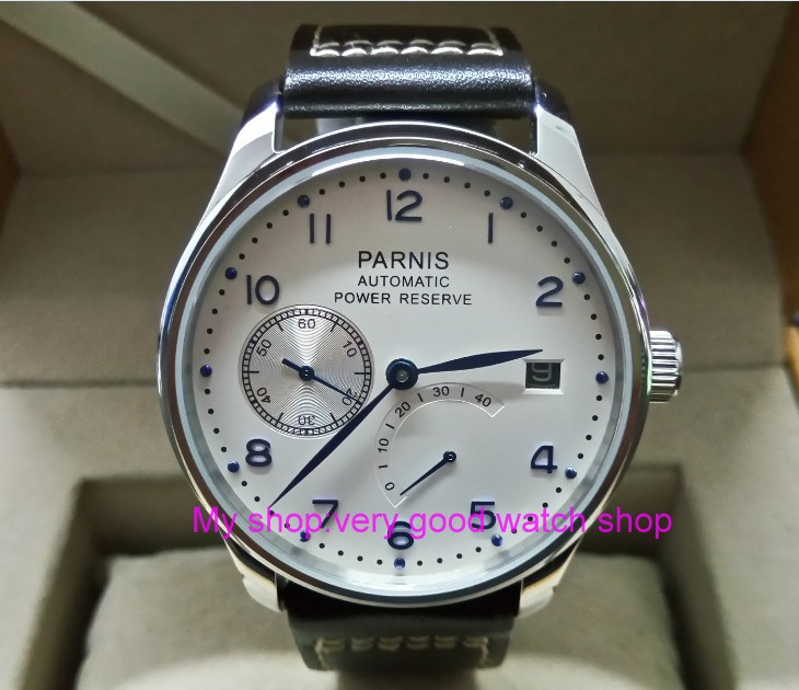 43mm PARNIS White dial power reserve Automatic Self-Wind Mechanical movement Auto Date mens watch zdgd185a43mm PARNIS White dial power reserve Automatic Self-Wind Mechanical movement Auto Date mens watch zdgd185a