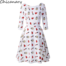 Chicanary Lips Print Women Back V Vintage Dresses 3/4 Sleeve Lipstick Cotton Rockabilly Swing Dress Plus Size