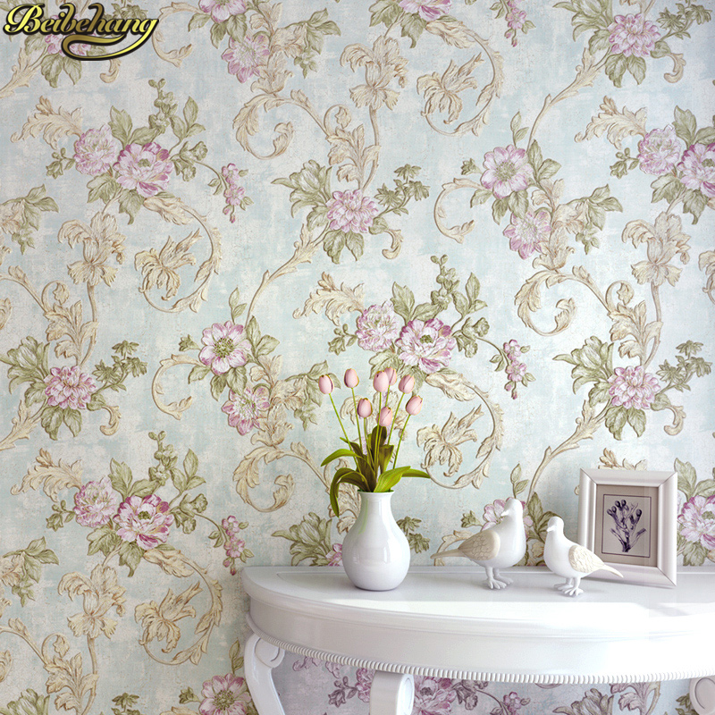 beibehang papel de parede 3D American pastoral flowers wall paper roll Living Room Bedroom Ceiling Mural Wallpaper For Walls 3D beibehang roll papel mural modern luxury pattern 3d wall paper roll mural wallpaper for living room non woven papel de parede