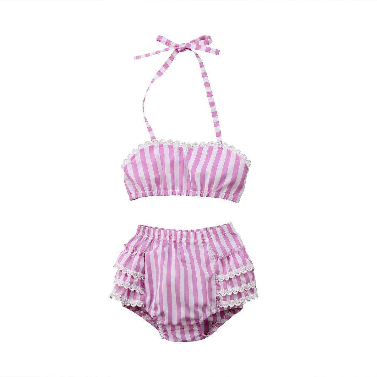 3289d03b678068 Peuter Kids Baby Meisjes Bikini Set Roze Gestreepte Ruches Badmode Badpak  Badpak Beachwear in Peuter Kids Baby Meisjes Bikini Set Roze Gestreepte  Ruches ...