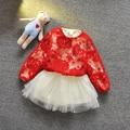 Del otoño del resorte de encaje de manga larga Tops + con cuentas Vestido Vestido de los niños partido de la princesa 2 unids vestidos del tutú MT631
