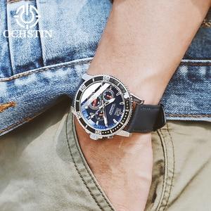 Image 5 - OCHSTIN אופנה עיצוב למעלה מותג גברים שעונים גברים של עור עמיד למים מזדמן קוורץ תאריך שעון זכר שעון relogio masculino