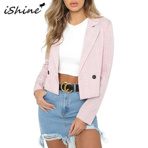Autumn New Fashion European And American Style Women Woven Plaid All-match Short One Button Coat Top Suit Jacket For Female