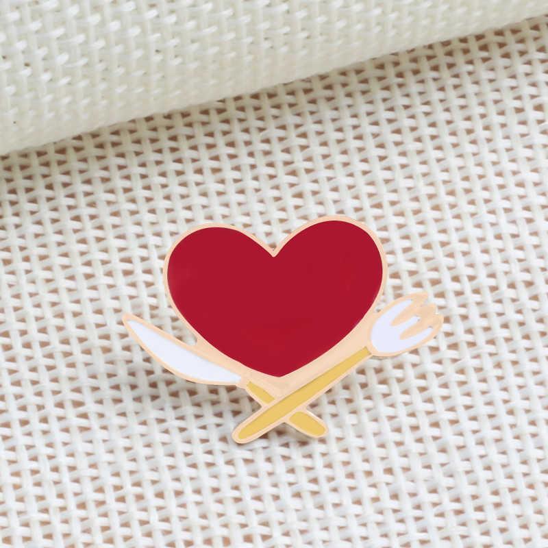 Enamel Lencana Lucu Gadis Perhiasan Strawberry Merah Heart Bahasa Perancis Goreng Lapel Pin Bros Pesta Wanita Fashion Aksesoris Dropshipping