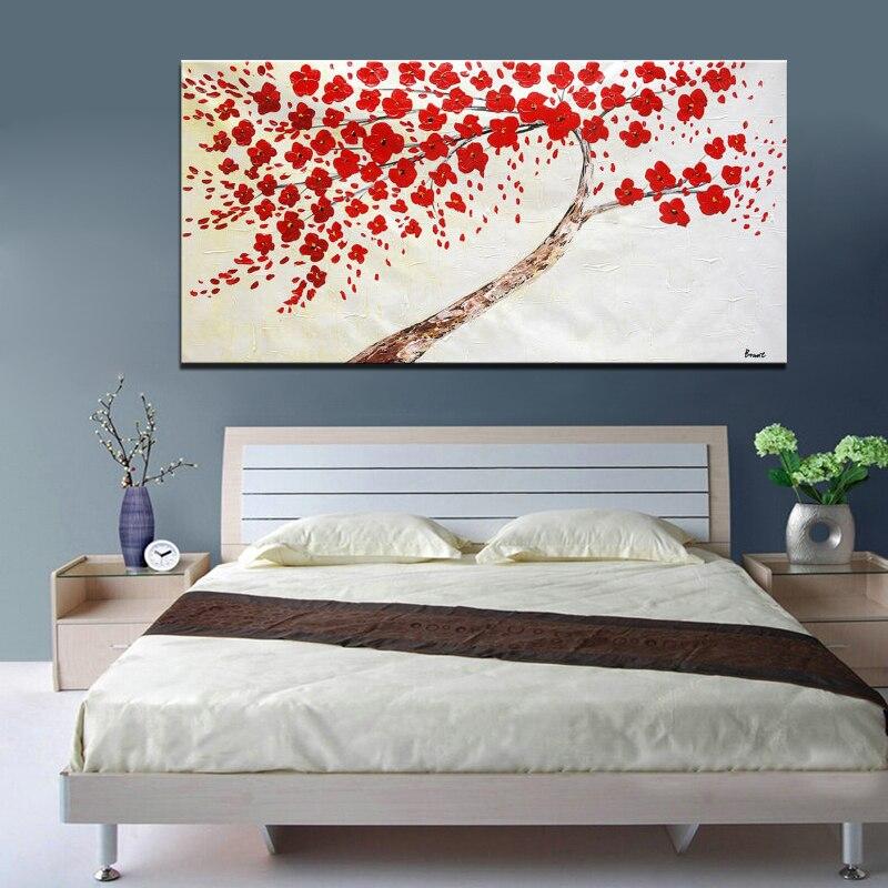 Třešňové malby na plátně Moderní abstraktní květinové olejomalby na plátně pro obývací pokoj Domácí dekorace Wall Art Pictures